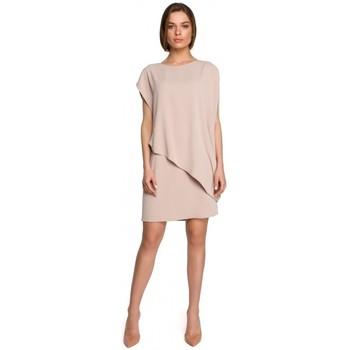 Textil Mulher Vestidos curtos Style S262 Vestido em camadas - bege
