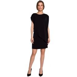 Textil Mulher Vestidos curtos Style S262 Vestido em camadas - preto