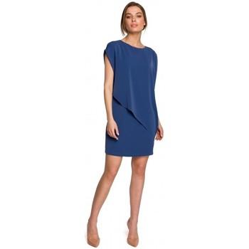 Textil Mulher Vestidos curtos Style S262 Vestido em camadas - azul
