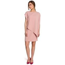 Textil Mulher Vestidos curtos Style S262 Vestido em camadas - pó
