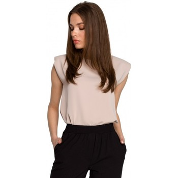 Textil Mulher Tops / Blusas Style S260 Blusa sem mangas com ombros acolchoados - bege