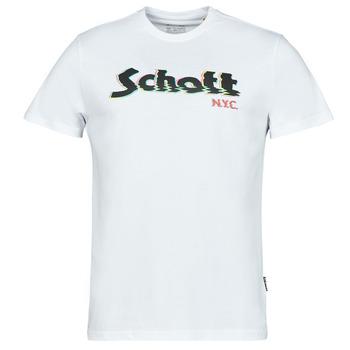 Textil Homem T-Shirt mangas curtas Schott TSLOGOELEK Branco