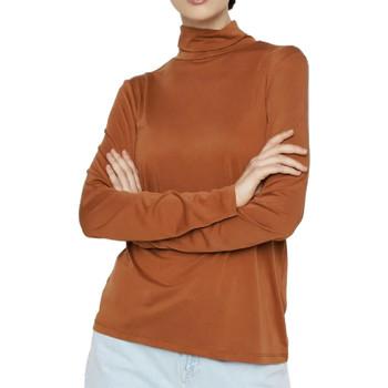 Textil Mulher T-shirt mangas compridas Pieces  Castanho