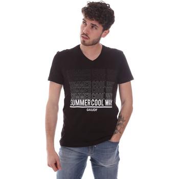 Textil Homem T-Shirt mangas curtas Gaudi 111GU64069 Preto