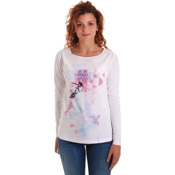 Textil Mulher T-shirt mangas compridas Key Up 5G68S 0001 Branco