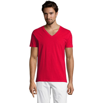 Textil Homem T-Shirt mangas curtas Sols Master camiseta hombre cuello pico Rojo