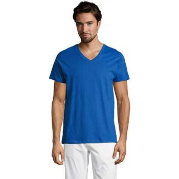 Textil Homem T-Shirt mangas curtas Sols Master camiseta hombre cuello pico Azul