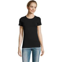 Textil Mulher T-Shirt mangas curtas Sols Camiserta de mujer de cuello redondo Negro