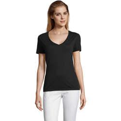 Textil Mulher T-Shirt mangas curtas Sols MOTION camiseta de pico mujer Negro