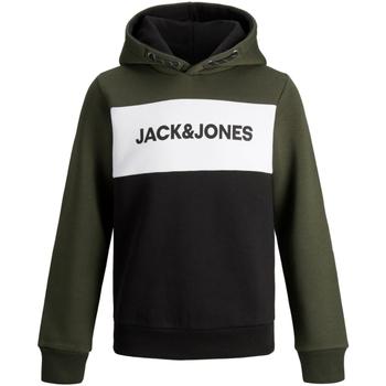 Textil Rapaz Sweats Jack & Jones 12173901 JJELOGO BLOCKING SWEAT HOOD NOOS JR FOREST NIGHT Verde