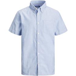 Textil Rapaz Camisas mangas curtas Jack & Jones 12188691 JJEOXFORD SHIRT S/S ES21 JR CASHMERE BLUE Azul claro