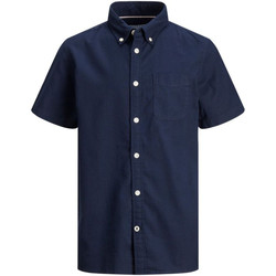 Textil Rapaz Camisas mangas curtas Jack & Jones 12188691 JJEOXFORD SHIRT S/S ES21 JR NAVY BLAZER Azul marino