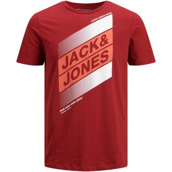 Textil Rapaz T-Shirt mangas curtas Jack & Jones 12184840 JCODEFENDER TEE SS CREW NECK FST JR SUN DRIED TOMATO Burdeos