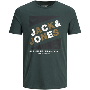 Textil Rapaz T-Shirt mangas curtas Jack & Jones 12184840 JCODEFENDER TEE SS CREW NECK FST JR DARKEST SPRUCE Verde oscuro