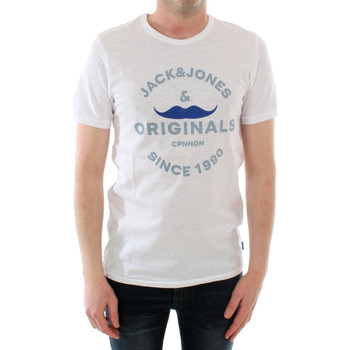 Textil Rapaz T-Shirt mangas curtas Jack & Jones 12183257 JORIKER TEE SS CREW NECK KA JR WHITE Blanco