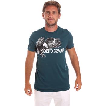 Textil Homem T-Shirt mangas curtas Roberto Cavalli HST68B Verde