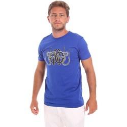 Textil Homem T-Shirt mangas curtas Roberto Cavalli HST66B Azul