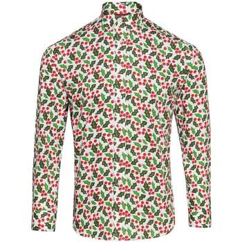 Textil Homem Camisas mangas comprida Christmas Shop CS001 Holly White