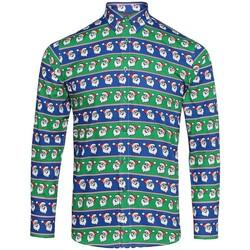 Textil Homem Camisas mangas comprida Christmas Shop CS001 Santa Blue/Green