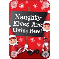 Casa Decorações festivas Christmas Shop RW6420 Elfos malvados estão vivendo aqui