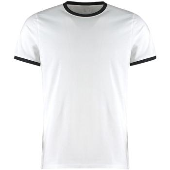 Textil Homem T-Shirt mangas curtas Kustom Kit KK508 Branco/Preto