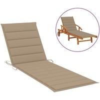 Casa Almofada de cadeira VidaXL Almofadão para espreguiçadeira 200 x 70 x 4 cm Bege