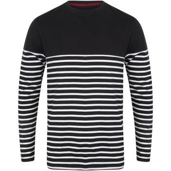 Textil Homem T-shirt mangas compridas Front Row FR134 Marinha/ Branco