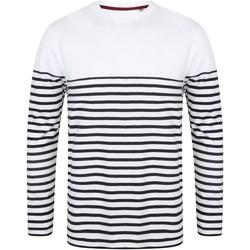 Textil Homem T-shirt mangas compridas Front Row FR134 Branco/Navio