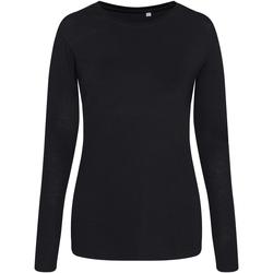 Textil Mulher T-shirt mangas compridas Awdis JT02F Preto sólido