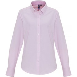 Textil Mulher camisas Premier PR338 Branco/rosa