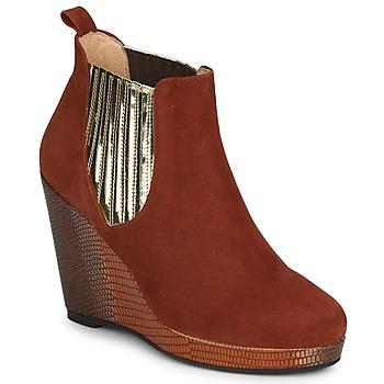 Sapatos Mulher Botas baixas MySuelly LEON Ferrugem / Dourado