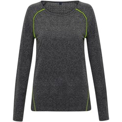 Textil Mulher T-shirt mangas compridas Tridri TR040 Melange preto