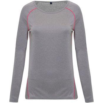 Textil Mulher T-shirt mangas compridas Tridri TR040 Melange de prata