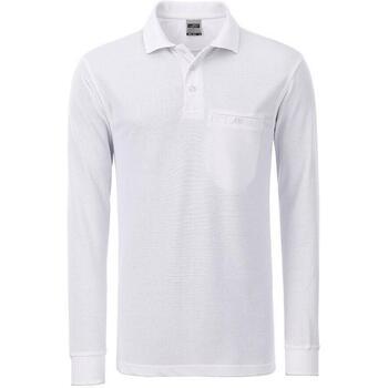 Textil Homem Polos mangas compridas James And Nicholson  Branco