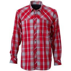 Textil Homem Camisas mangas comprida James And Nicholson  Vermelho/Navio
