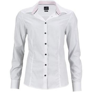 Textil Mulher camisas James And Nicholson  Branco/vermelho
