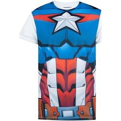 Textil Homem T-Shirt mangas curtas Captain America  Branco/azul/vermelho