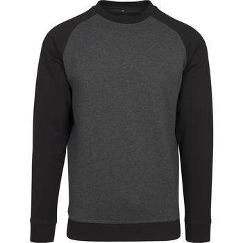 Textil Homem T-shirt mangas compridas Build Your Brand BY076 Carvão Vegetal/Preto