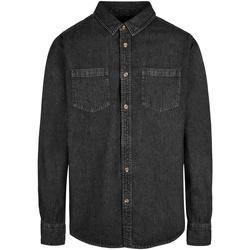 Textil Homem Camisas mangas comprida Build Your Brand BY152 Preto