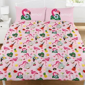 Casa Criança Capa de edredão Emoji Double Cor-de-rosa/branco