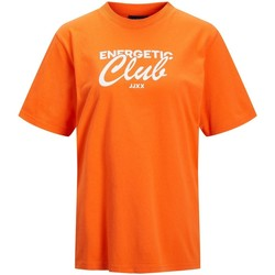 Textil Mulher T-Shirt mangas curtas Jack & Jones T-shirt femme  bea red orange bright white print cali 4