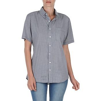 Textil Mulher Camisas mangas curtas American Apparel RSACP401S Branco / Azul