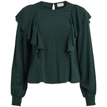 Textil Mulher Tops / Blusas Vila Top Payton LS Darkest Spruce Verde