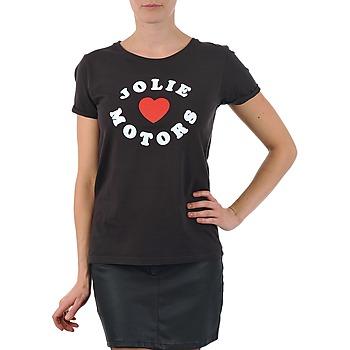 Textil Mulher T-Shirt mangas curtas Kulte LOUISA JOLIEMOTOR 101954 NOIR Preto