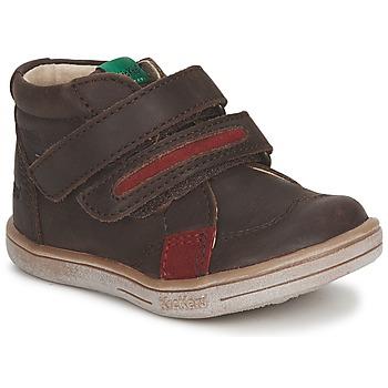 Sapatos Rapaz Botas baixas Kickers TAXI Castanho / Vermelho