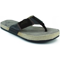 Sapatos Homem Chinelos MTNG MUSTANG SERRAJE CANVAS SANDALIA DEDO ANATOMICA MARRON