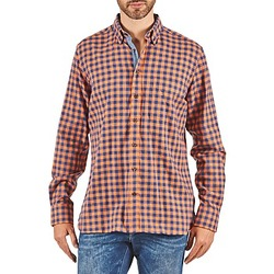 Textil Homem Camisas mangas comprida Hackett SOFT BRIGHT CHECK Laranja / Azul