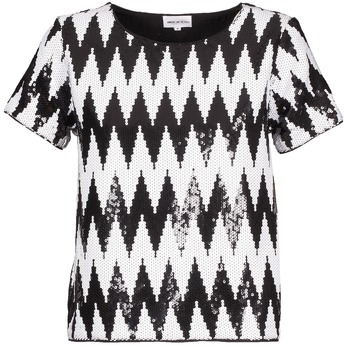 Textil Mulher T-Shirt mangas curtas American Retro GEGE Preto / Branco