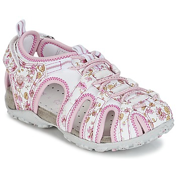Sapatos Rapariga Sandálias desportivas Geox S.ROXANNE C Branco / Rosa