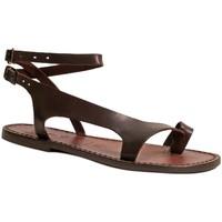 Sapatos Mulher Sandálias Gianluca - L'artigiano Del Cuoio 526 D MORO CUOIO Testa di Moro